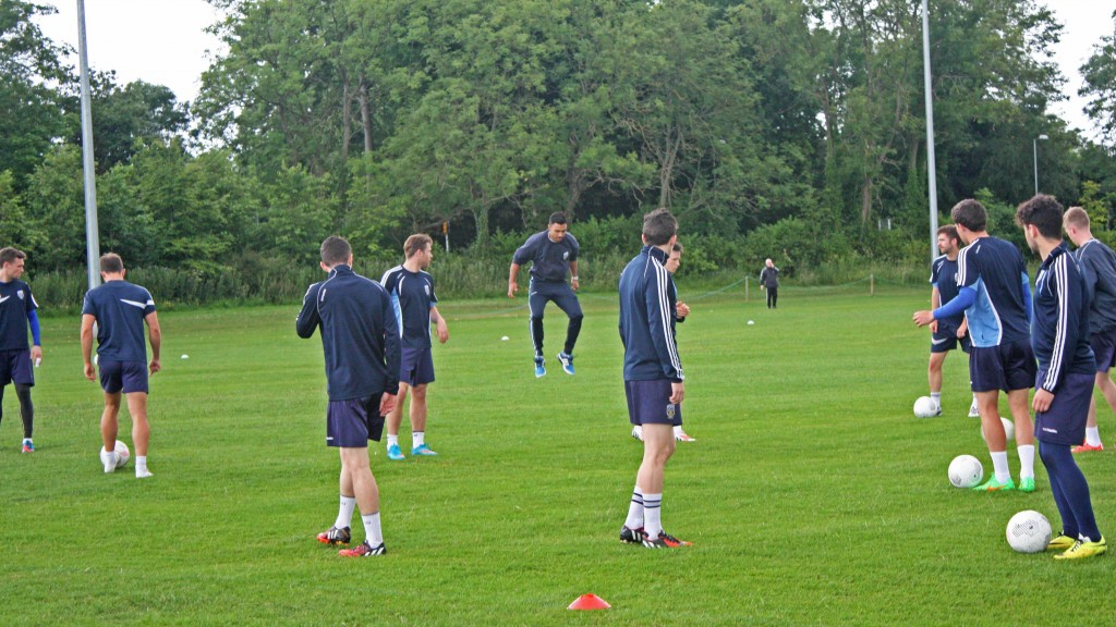 UCD's strength and conditioning coach, Eoin Clarke (middle), demonstrating a warm-up drill to the boys