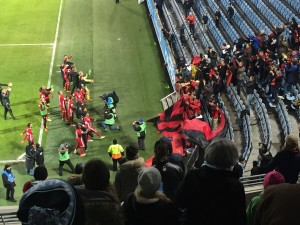 Ondersud celebrating their 0-3 victory over Malmo with their traveling fans who made the 500 kilometer journey to see them play.